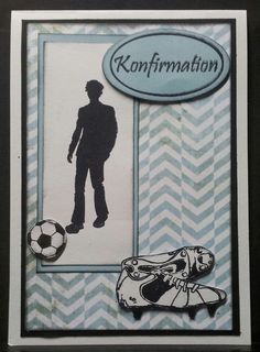 Kort Birthday Cards For Men, Man Birthday, Confirmation Cards, Diy And Crafts, Arts And Crafts, Football Cards, Invitation Cards, Projects To Try, Scrapbook
