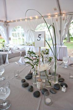 DIY Natural Centerpieces ~ jars, stones, water, greens & candles. From Liz & Trevor's DIY Maryland wedding (Diy Wedding Tent)