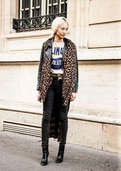 soo joo park #sooJooPark #leopardCoat #streetStyle