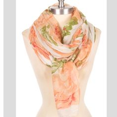 ⭐️⭐️coming in next week⭐️⭐️rose scarf White and pink rose scarf. Lightweight material. 100% polyester Brittany Lynn Collections  Accessories Scarves & Wraps