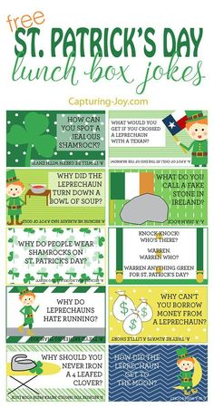 Patricks Day Lunch Box Jokes for your kids! Grab them on Capturing-! Patricks Day Lunch Box Jokes for your kids! Grab them on Capturing-! St Patricks Day Jokes, St Patricks Day Crafts For Kids, Saint Patricks, St Patricks Day Snacks For School, Happy St Patricks Day, St Patrick Day Activities, Lunch Box Notes, St Paddys Day, Jokes For Kids