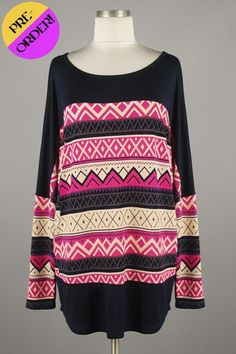 *** New Style *** Lightweight Long Sleeve Dolman Knit Tunic with Boat Neckline Featuring Tribal Pattern Center.