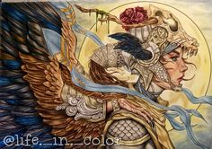 Goddess of war from serene adult coloring book by Nicholas Chandrawienata. I used prismacolors and PanPastels.