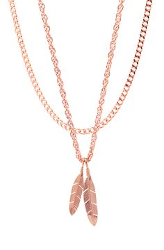 Mister Feather Necklace - Rose Gold