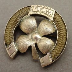 Victorian Woven Hair Pin Horseshoe 4 Leaf Clover 10K Gold Engraved | eBay