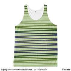 Zigzag Blue Green Graphic Pattern Yoga Clothes