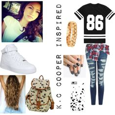 K.C Cooper Inspired Outfit~K.C Undercover by booknerdjaime16 on Polyvore featuring polyvore fashion style Current/Elliott PPLA NIKE cutekawaii alfa.K