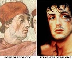 'Sylvester Stallone' spotted in century painting.There's always something new to discover in Vatican City. Anthony Zonfrell, a visitor to the holy city did a double take when he saw Sylvester Stallone in one of Raphael's masterpieces. Celebrity Twins, Celebrity Look Alike, Celebrity Photos, Celebrity Doppelganger, Sylvester Stallone, Nicolas Cage, John Travolta, Channing Tatum, Keanu Reeves