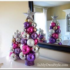 Easy DIY ornament tree...easy enough to make one for every room, color coordinated of course!