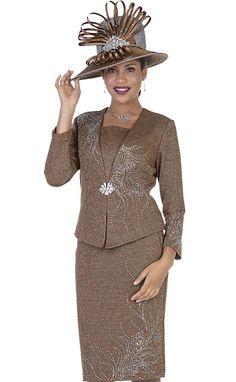 b5b587a63220e Elite Champagne 5158 Knit Jacket   Skirt Set For Church