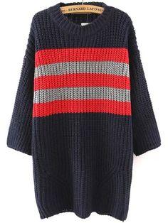 Navy Round Neck Striped Chunky Sweater