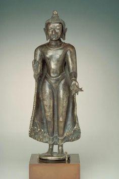Standing Buddha  Place of Origin:Myanmar (Burma)  Date:date uncertain  Materials:Alloy of copper, zinc and nickel  Dimensions:H. 12 in x W. 4 1/4 in x D. 2 3/4 in, H. 30.5 cm x W. 10.8 cm x D. 7.0 cm