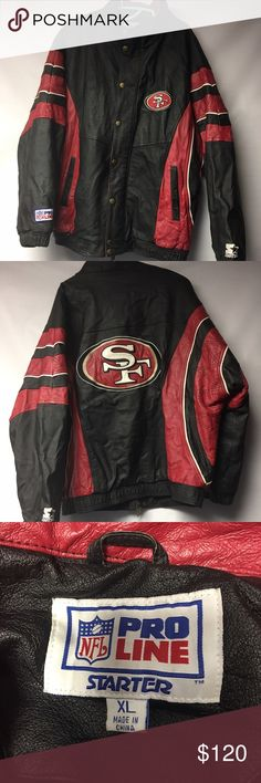 Vintage Starter SAN Fransisco 49ers Leather Jacket Amazing Vintage Starter SAN Fransisco 49ers Leather Jacket. Very Rare. In great condition. Jacket is from the early 90's. This Jacket is a Men's XL. Grab this gem now because it will not last long Starter Jackets & Coats