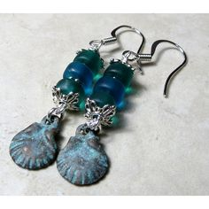 Long Sea Shell Earrings, Beach Jewelry, Ocean Green Blue Glass Bead, Patina Sand Dollar Charm, Surgical Steel French Hook, Boho Style and other apparel, accesso...