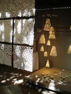 Passion Céramique: Très jolie scénographie du stand de Marc Albert Raku Pottery, Ceramic Wall Art, Ceramic Lamps, Textile Sculpture, Tile Projects, Paper Clay, Wall Sculptures, Glass Jars, Lamp Light