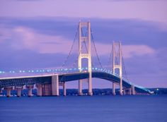 Mackinac, it connects the upper peninsula of Michigan with the lower peninsula.
