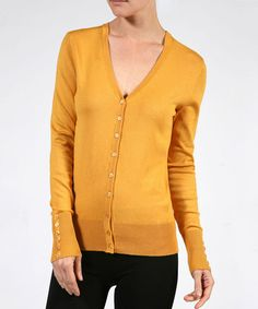 Love this Mustard V-Neck Cardigan on #zulily! #zulilyfinds