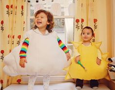 cloud w/ rainbow and sun costumes - must check link to see if it tells me how to make these - oh wait, I don't have kids that young any more! I guess I can just put it my fantasy costume closet.