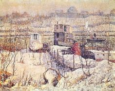 """Ernest Lawson (American, 1873 - 1939) """"Boathouse Winter Harlem River Painting"""""""