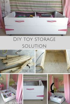 The best toy storage solution! Using space under the bed to organize the toys, perfect for a child's bedroom or even playroom. It works so well in this dreamy girl bedroom. This DIY project is created with wood pallets. Also features 9 other wood pallet projects!