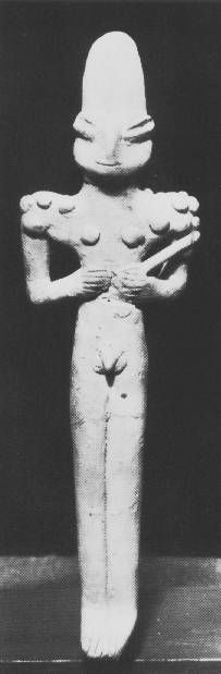 Baked clay male figurine from an Ubaid grave at Eridu. Decoration or tattoos from shoulder to shoulder used by both men and women. Southern Ubaid figure style.   5300 – 4100 BC  Baghdad: Iraq Museum.