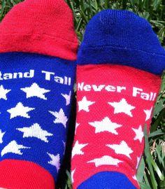 "My Soxy Feet ""United"" Sock! Percentage of sales donated to One Fund Boston! ""Stand Tall"" and ""Never  Fall"" #bostonstrong #mysoxyfeet #athleticsocks #socks #bostonmarathon #onefundboston #giftidea"