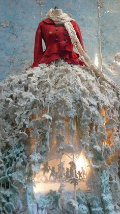 shadow play #Anthropologie, #window_display, #installation, #snow, #dress, #silhouette, #theater