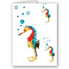 Colorful Sea Horse seahorse in  watercolor. Sea horse blowing bubbles under the sea art on Greeting Card by happytwitt