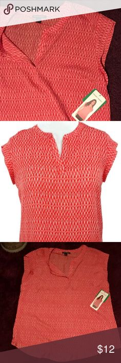 HILARY RADLEY Orange Cap Sleeve Blouse 👚 This lightweight HILARY RADLEY top has cute cap sleeves with a red/orange geometric print. Perfect for layering with cardigan in fall or pair with shirts or capris in summer. Dress up for work or pack for weekend at the beach. Great colorful top for work and play!  ✨ Bundle with other items for discount :) Hilary Radley Tops Blouses