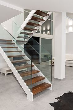 Here are the photos with interior design ideas. Glass Stairs, Wooden Stairs, Wooden Staircases, Glass Stair Balustrade, Balustrades, House Staircase, Staircase Railings, Staircase Design Modern, Steel Stairs