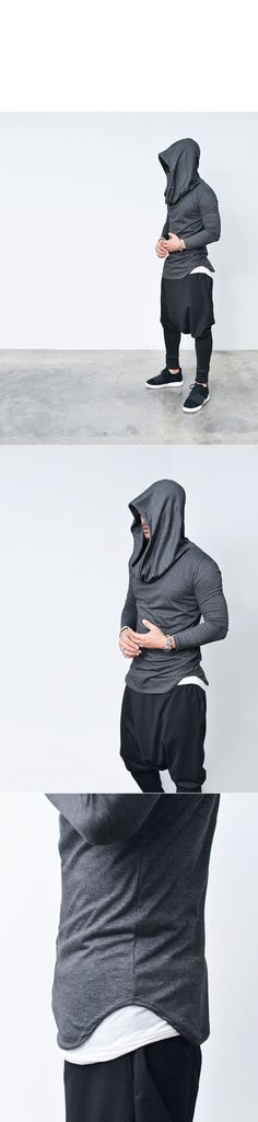 Tops :: Hoodies :: Avant-garde Volume Big Shirring Hood-Tee 607 - Mens Fashion Clothing For An Attractive Guy Look
