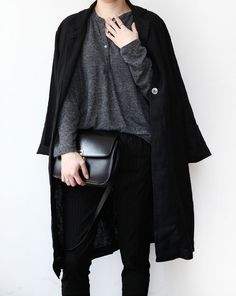 Chic Style - dark grey top, black jeans, coat & leather handbag