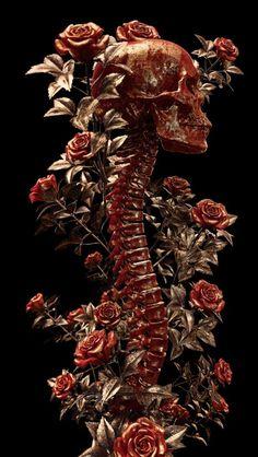 Darkly Elegant Digital Skull Art by Billelis Dark Fantasy, Fantasy Art, Photographie Art Corps, Skeleton Art, Skulls And Roses, Anatomy Art, Skull Art, Tattoo Studio, Aesthetic Art
