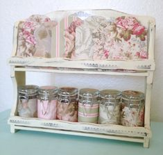 Distressed Wood Spice Rack With Mason Jar