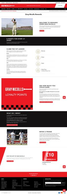 This explainer page from Gray-Nicolls does a great job of directing customers to each part of their program with clear organization and panel links. Thank You For Purchasing, Customer Experience, Loyalty, How To Introduce Yourself, Landing, Vip, Organization, Smile, Gray