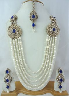 Blue Cz Pearl Gold Tone 5 Line Rani Haar Indian Long Necklace Jewelry Set 4 Pcs
