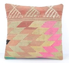 zig zig Kilim Pillow -16x16 Inches Red Cover Decorative floor case wool sham