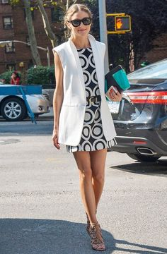 Olivia Palermo in Desigual Natalia Shift dress and Aquazzura sandals.
