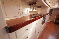 Galley of Sparkman & Stephens 52 ft Yawl 1946 Classic Yachts For Sale, Sailboat Restoration, Liveaboard Boats, Luxury Yacht Interior, Narrowboat Interiors, Sailboat Interior, Sailboat Living, Nautical Design, Boat Stuff