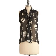 Rock Legend Top ($43) ❤ liked on Polyvore featuring tops, blouses, shirts, modcloth, skull, stretch shirt, loose blouse, rock shirts, cut loose shirt and sheer skull shirt