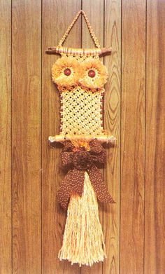 Super 70's Macrame Owl and ON the wood paneling! Think I'll go thrifting for one just for kicks and giggles!! :0)