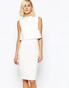 Lavish Alice Crop Layered Midi Dress with High Neck 56 euros - ASOS
