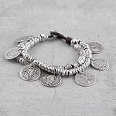 Pulseras de Zamak Metal de cuero-plata antigua por EfSaCharms