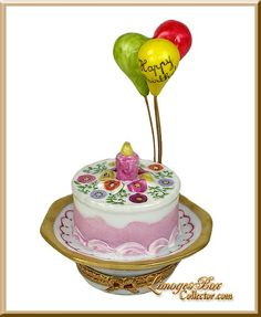 Birthday Cake w/ Balloons, an Exclusive Limoges box by Beauchamp Limoges www.LimogesBoxCollector.com