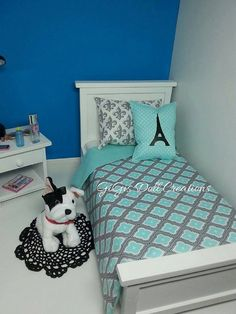 Teal and Grey doll bedding with Eiffel Tower by GiGisDollCreations