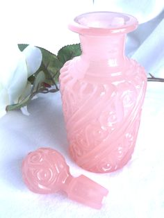 Portieux Vallerysthal Pink Opaline Glass Eau de Toilette Decanter by AgedwithGraceVintage on Etsy