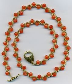 Orange Carnelian and Gold Beadwoven by FeithHodgeCreations on Etsy
