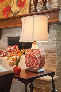 Lamp adds splashes of red in a great room