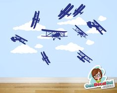 Airplanes & Clouds - Vinyl Wall Decal. >>>>Tell your ARIZONA FRIENDS that the LEFT SEAT WEST, an AVITATION THEMED restaurant in Glendale, Arizona is a great place for your next party!  Check out our Facebook page! http://www.facebook.com/pages/Left-Seat-West-Restaurant/192309664138462