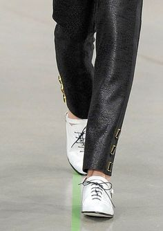 I love the cut and hardware of these pants + the shoe combo.